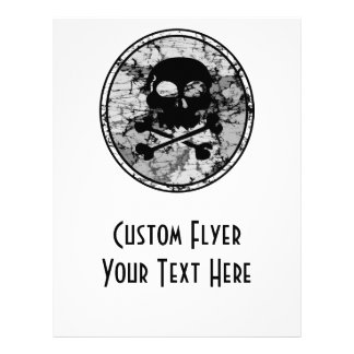 Distressed Skull & Crossbones Silhouette B&W Flyer