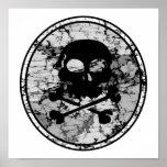 Distressed Skull & Crossbones Silhouette B&W Posters