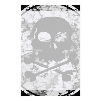 Distressed Skull & Crossbones Silhouette B&W Stationery