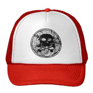Distressed Skull & Crossbones Silhouette B&W Trucker Hat