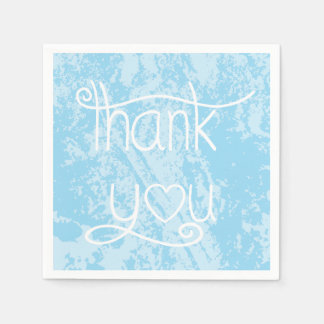Distressed Sky Blue Thank You  Party Napkins