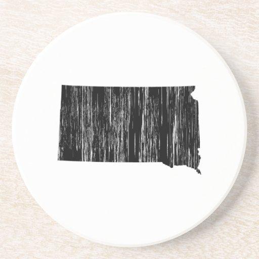 Distressed South Dakota State Outline Coasters