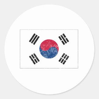 Distressed South Korea Flag Round Sticker