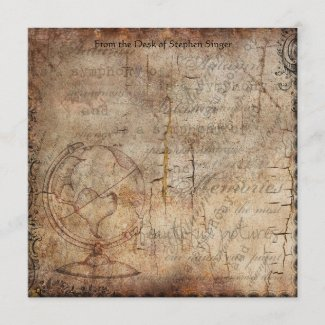 Distressed Steampunk Globe Travel Journal Paper Card