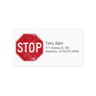 Distressed Stop Sign Address Label