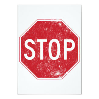 Distressed Stop Sign Card