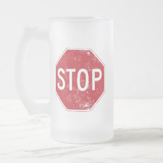 Distressed Stop Sign Frosted Glass Beer Mug