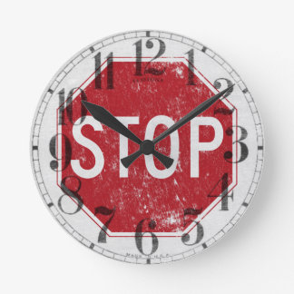 Distressed Stop Sign Round Clock