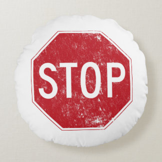 Distressed Stop Sign Round Pillow