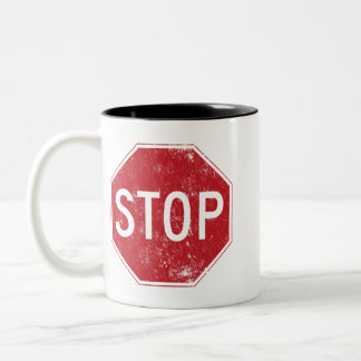 Distressed Stop Sign Two-Tone Coffee Mug
