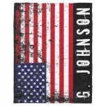 Distressed Style American Flag Custom Name Fleece Blanket