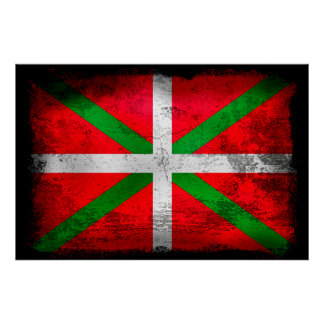 Distressed style Basque Country flag: Ikurriña, Poster