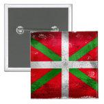 Distressed style Basque flag: Ikurriña, Pinback Button