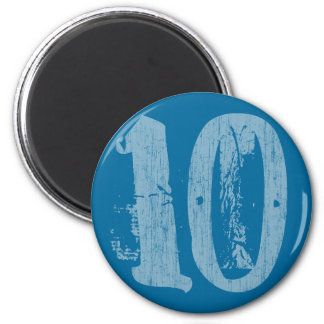 DISTRESSED STYLE NUMBER 10 2 INCH ROUND MAGNET