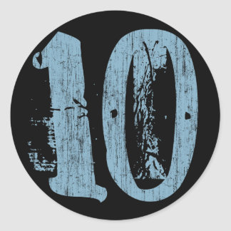 DISTRESSED STYLE NUMBER 10 CLASSIC ROUND STICKER