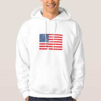Distressed style USA flag Hooded Sweatshirts