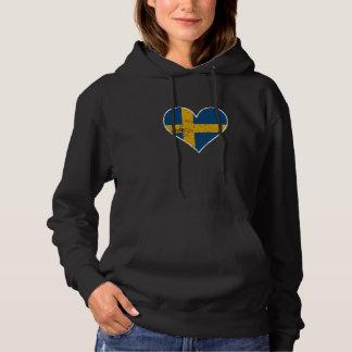 Distressed Swedish Flag Heart Hoodie