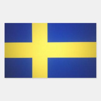 Distressed Swedish Flag Symbol Rectangular Sticker