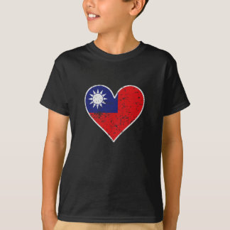 Distressed Taiwanese Flag Heart T-Shirt