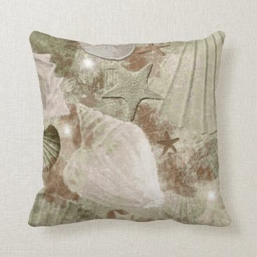 Beach Themed Distressed Tan Seashell Pillow