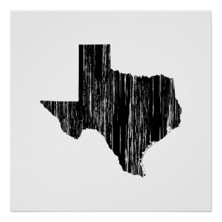 Distressed Texas State Outline Poster