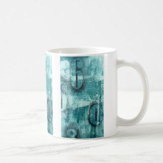 Distressed text coffee mug