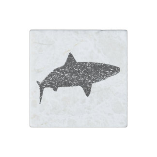 Distressed Tiger Shark Silhouette Stone Magnet
