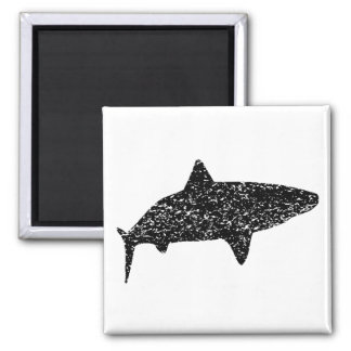 Distressed Tiger Shark Silhouette 2 Inch Square Magnet