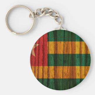 Distressed Togo Flag Basic Round Button Keychain