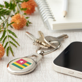 Distressed Togo Flag Silver-Colored Oval Metal Keychain