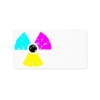 distressed toxic symbol CMYK Address Label