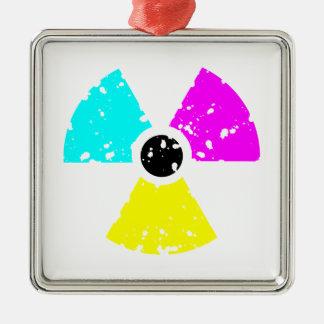 distressed toxic symbol CMYK Christmas Ornament