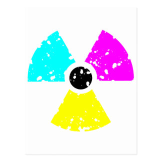 distressed toxic symbol CMYK Post Card