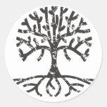 Distressed Tree II Round Stickers