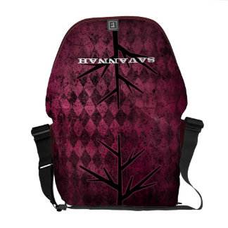 Distressed Tree Retro Argyle Pattern Messenger Bags