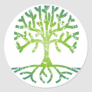 Distressed Tree VI Classic Round Sticker