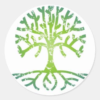Distressed Tree VI Round Stickers