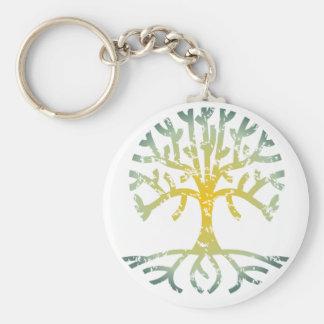 Distressed Tree VII Basic Round Button Keychain