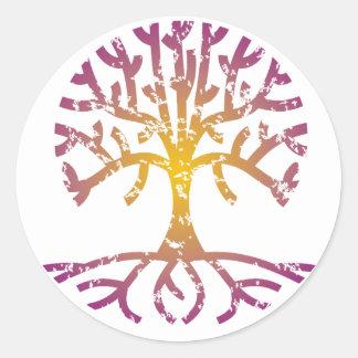 Distressed Tree VIII Classic Round Sticker