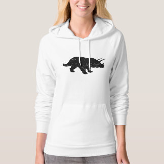 Distressed Triceratops Silhouette Hooded Sweatshirts