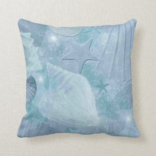 Distressed Turquoise Blue Seashell Pillow