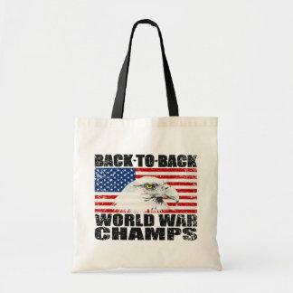 Distressed U S Flag Eagle World War Champs Bag