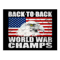 Distressed U.S. Flag & Eagle World War Champs Postcard