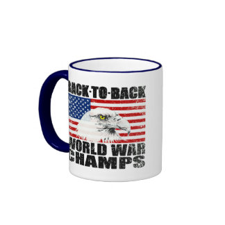 Distressed U.S. Flag & Eagle World War Champs Ringer Coffee Mug