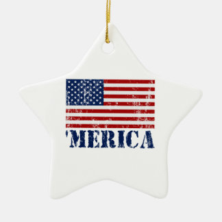 Distressed U.S. Flag 'MERICA Ceramic Ornament
