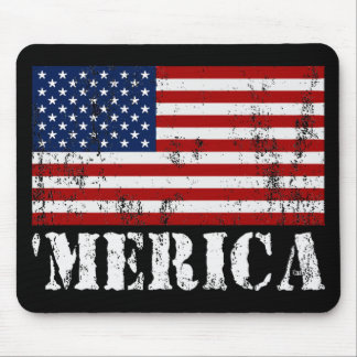 Distressed U.S. Flag 'MERICA Mouse Pad