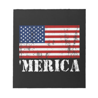 Distressed U.S. Flag 'MERICA Notepad