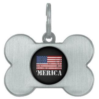 Distressed U.S. Flag 'MERICA Pet ID Tag