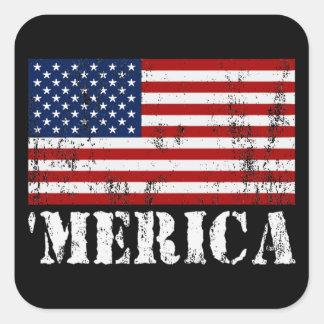 Distressed U.S. Flag 'MERICA Square Sticker