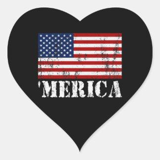 Distressed U S Flag MERICA Heart Stickers